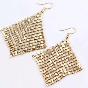 Sequin Drop Earrings Gold